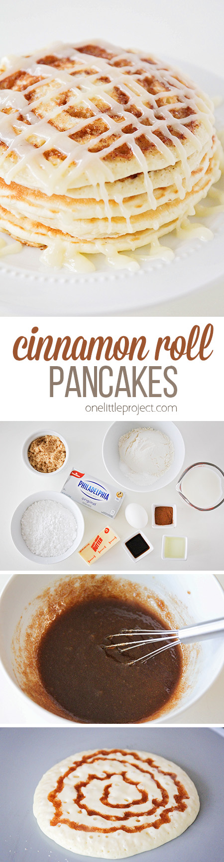 These cinnamon roll pancakes taste just like a cinnamon roll, and are topped with a to-die-for cream cheese glaze. So delicious and easy to make too!