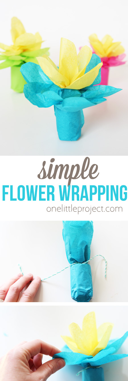 Wrap up any small gift using this simple flower wrapping method! It's SO easy and would be perfect for Mother's Day or a Bridal Shower!