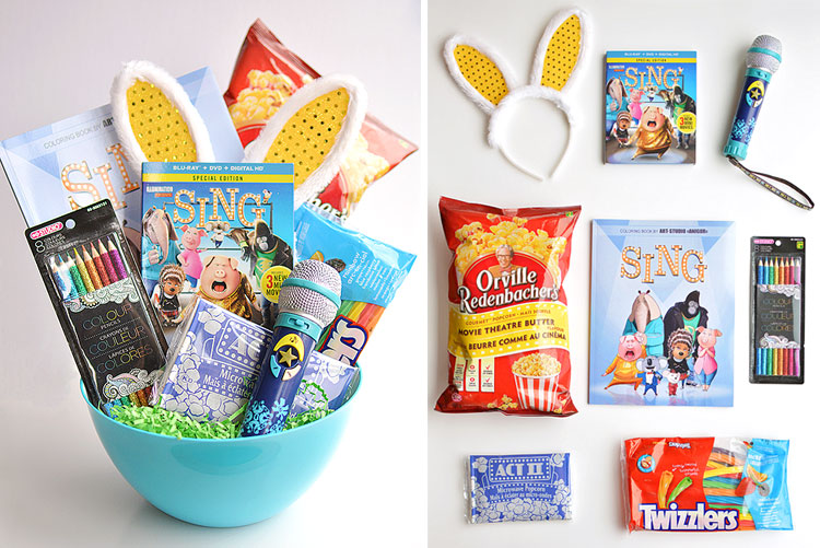 Make your own SING themed movie night Easter basket! With popcorn and all your favourite movie treats. The Blu-ray is in stores now! I love the bunny ears behind it. So cute! #sponsored