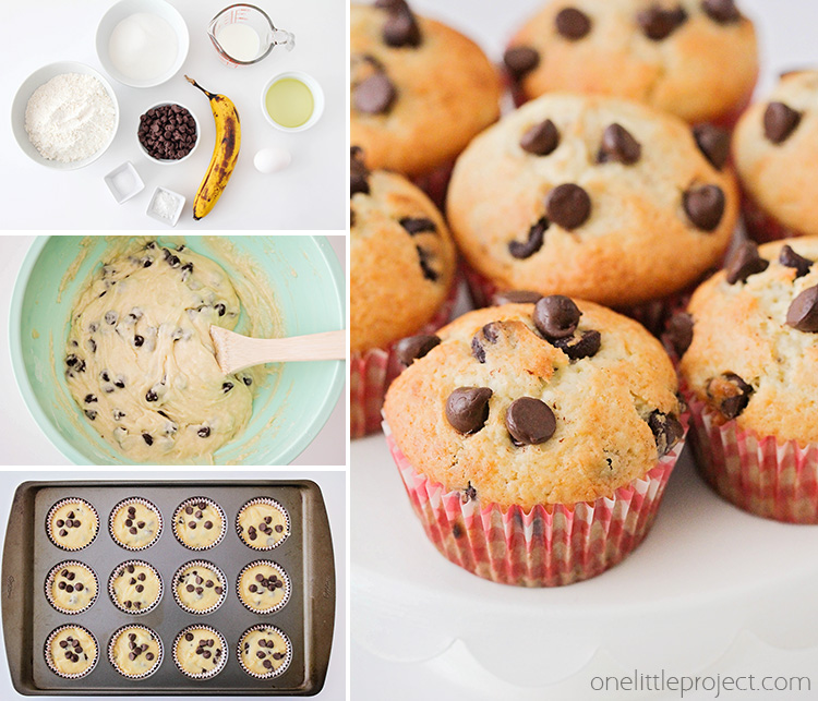 This light and tender chocolate chip banana muffins are perfect for breakfast, dessert, or a quick snack. They're so easy to make and delicious too!