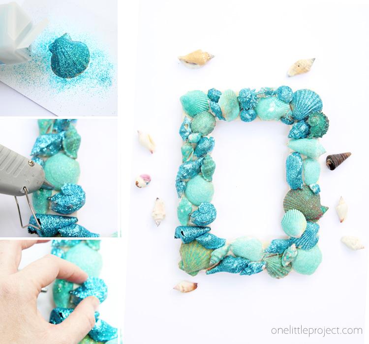 Make a BEAUTIFUL glitter sea shell frame this summer. It's such an easy summer kids craft!
