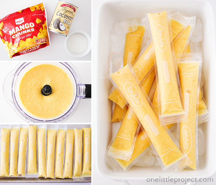 These mango coconut freezer pops have only three ingredients and are so easy to make! They're the perfect frozen treat to enjoy all summer long!