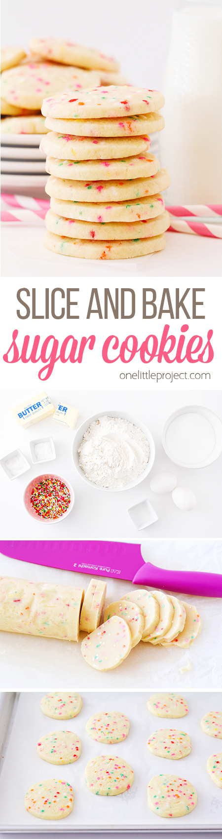Sprinkle Sugar Cookies - Slice and Bake - One Little Project