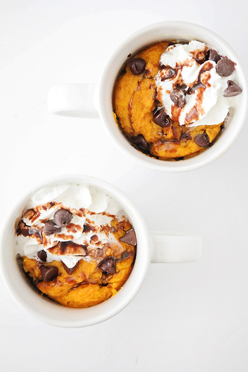 This ooey-gooey pumpkin chocolate chip mug cake tastes amazing, and is so light and fluffy! It tastes just like pumpkin bread, but it's ready in minutes!