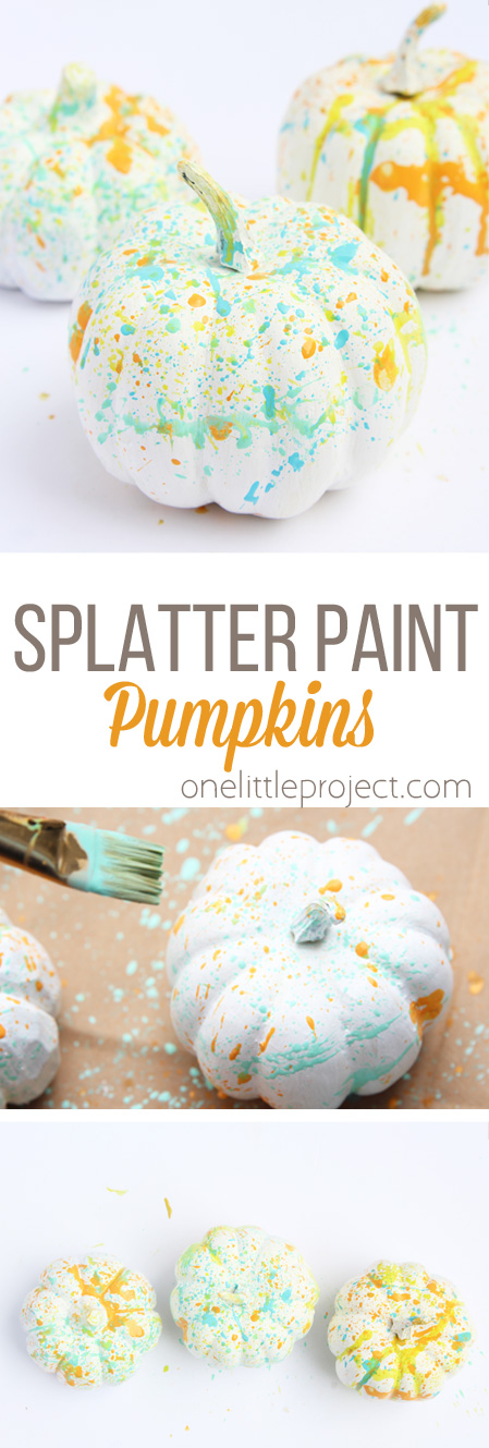 These paint splattered pumpkins are SO colorful and modern twist for fall! This is a great fall kids craft!
