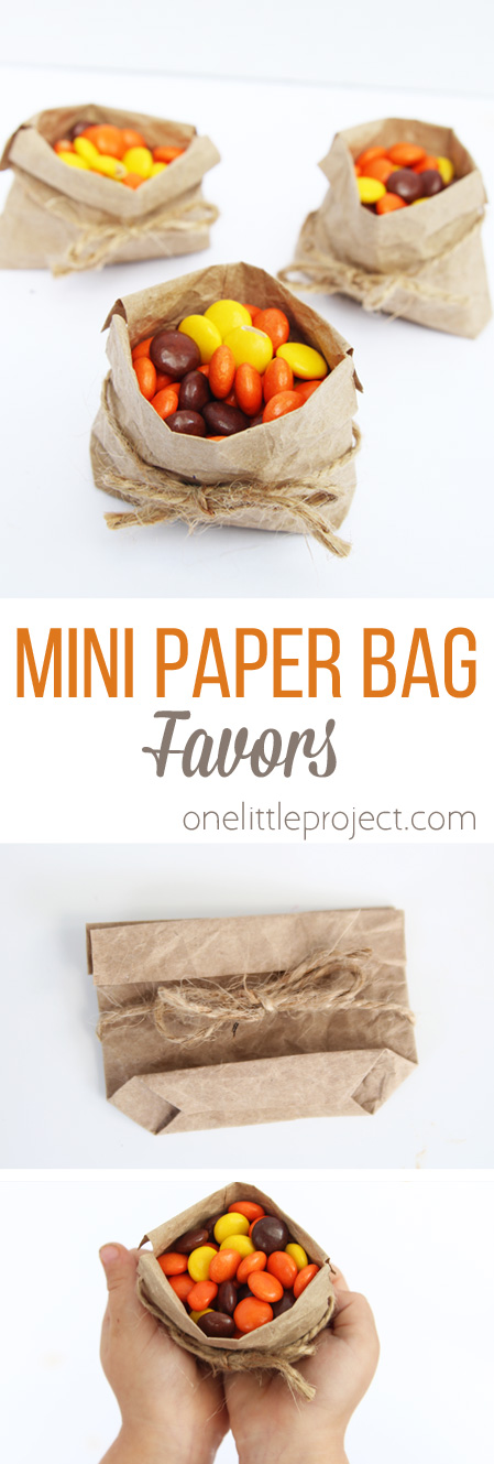 These mini paper bag favors are SO EASY and would look adorable on a holiday place setting or as a party favor!