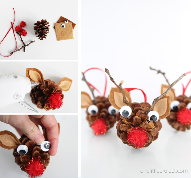 Pinecone reindeer one little project these pinecone reindeer are the most adorable kids christmas craft make these diy pinecone ornaments solutioingenieria Gallery