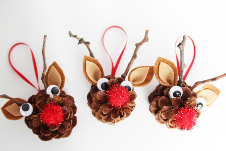 Pinecone reindeer one little project for 2 year old christmas ornaments crafts