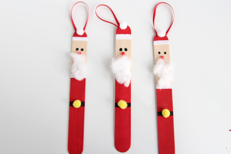 Lollipop Stick Christmas Decorations.Popsicle Stick Santas