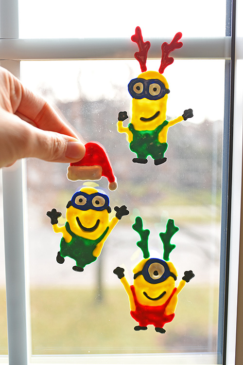 40+ Easy Christmas Crafts for Kids - Holiday Minion Window Clings
