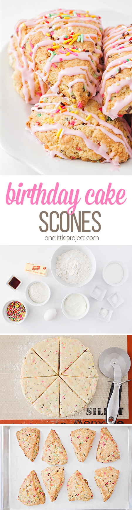 These birthday cake scones taste amazing and are quick and easy to make! They're the perfect fun and festive treat to brighten up any day!