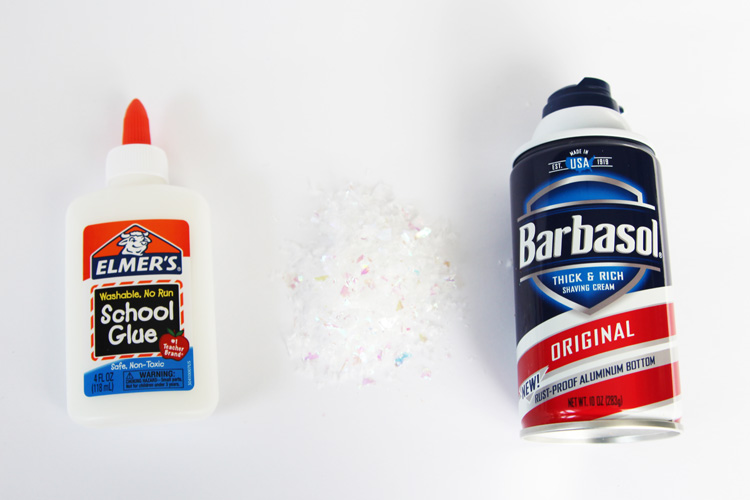 This DIY snow paint only requires 3 ingredients and has a soft and spongy texture when it's dry!