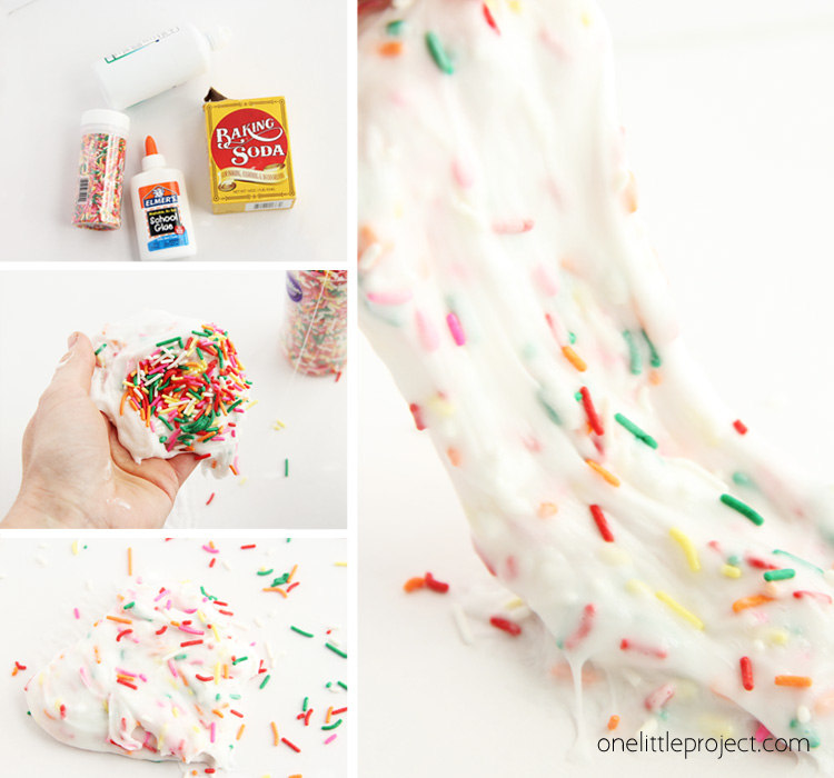 This rainbow sprinkle slime is SO cute and super easy to make. Your kids will be obsessed with making it!