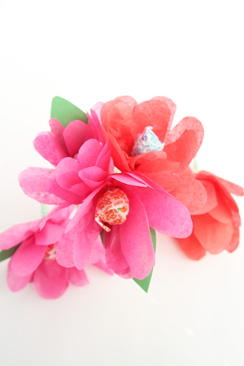 These tissue paper lollipop flowers are the EASIEST handmade Valentine idea to make with kids!