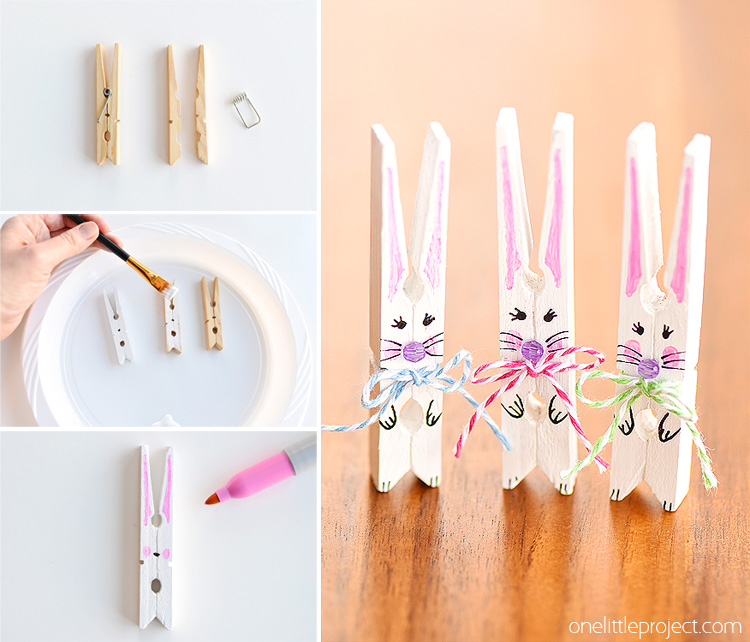 These clothespin bunnies are so adorable and they're really simple to make! They're a great little Easter decoration and a super cute Easter craft to make with the kids.This is a fun and easy spring craft idea!