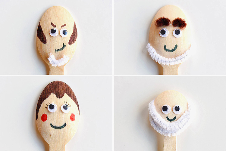 We made Sherlock Gnomes wooden spoon puppets inspired by the characters in the movie and this low mess kids craft is so much fun! These puppets are really simple to make and the kids LOVED playing with them!
