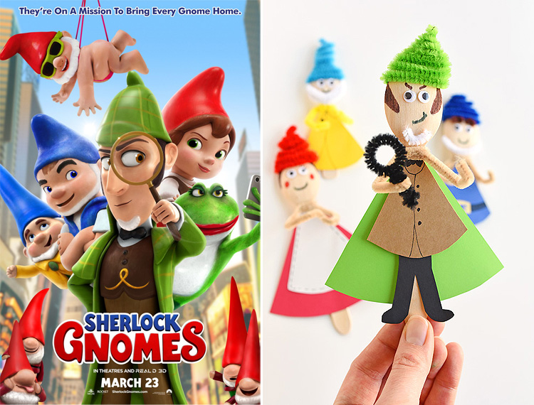 We made Sherlock Gnomes wooden spoon puppets inspired by the characters in the movie (in theaters March 23) and they are so much fun! These puppets are really simple to make and the kids LOVED playing with them! #sponsored #SherlockGnomes