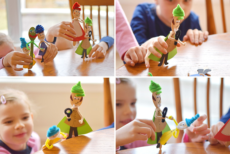 We made Sherlock Gnomes wooden spoon puppets inspired by the characters in the movie (in theaters March 23) and they are so much fun! These puppets are really simple to make and the kids LOVED playing with them!