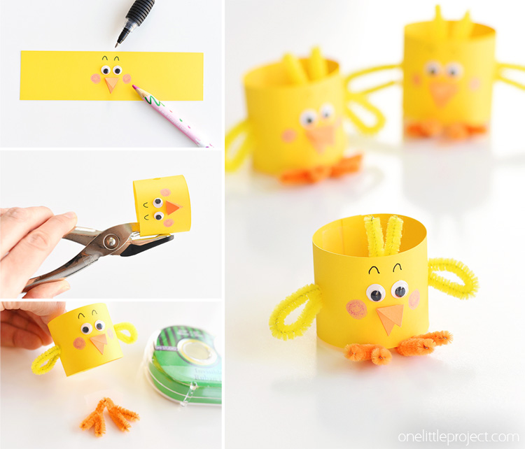 These paper roll chicks are such an adorable Easter craft idea and they are super simple to make! They're an adorable decoration for the Easter table and a fun, low mess craft to make with the kids.