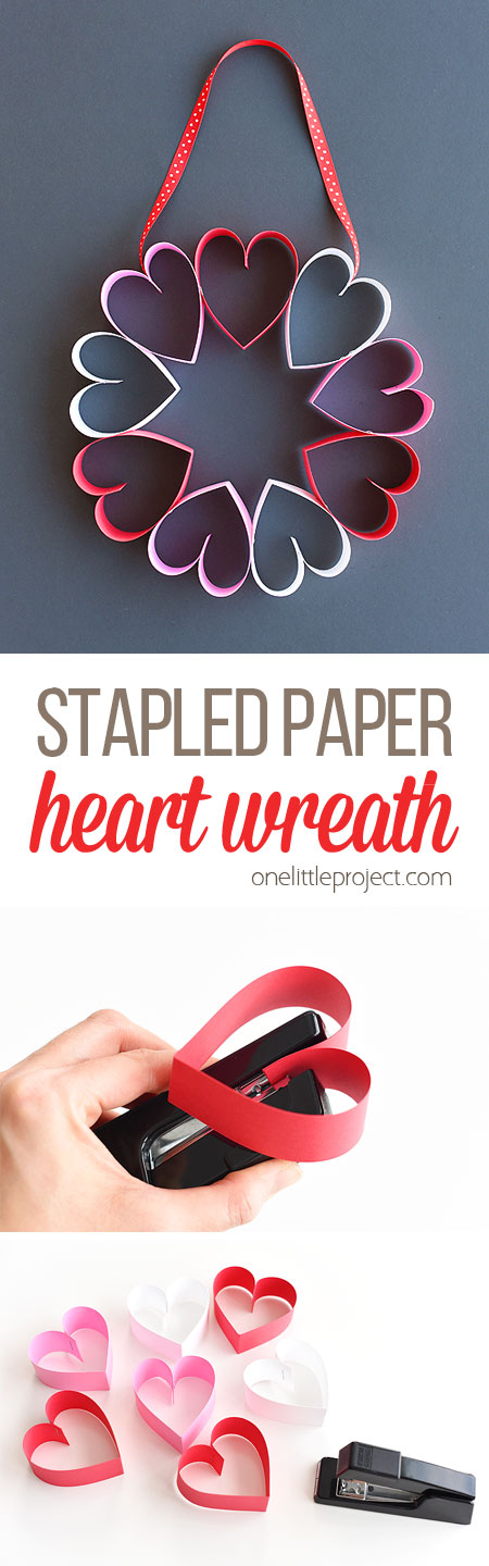 This stapled paper heart wreath is such a fun and EASY Valentine's Day craft to make with the kids! It's a great little wreath to hang on a bedroom door (or school classroom door?) and it makes a super cute and simple Valentine's decoration!