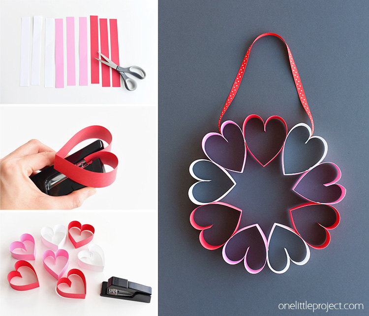 Stapled Paper Heart Wreath