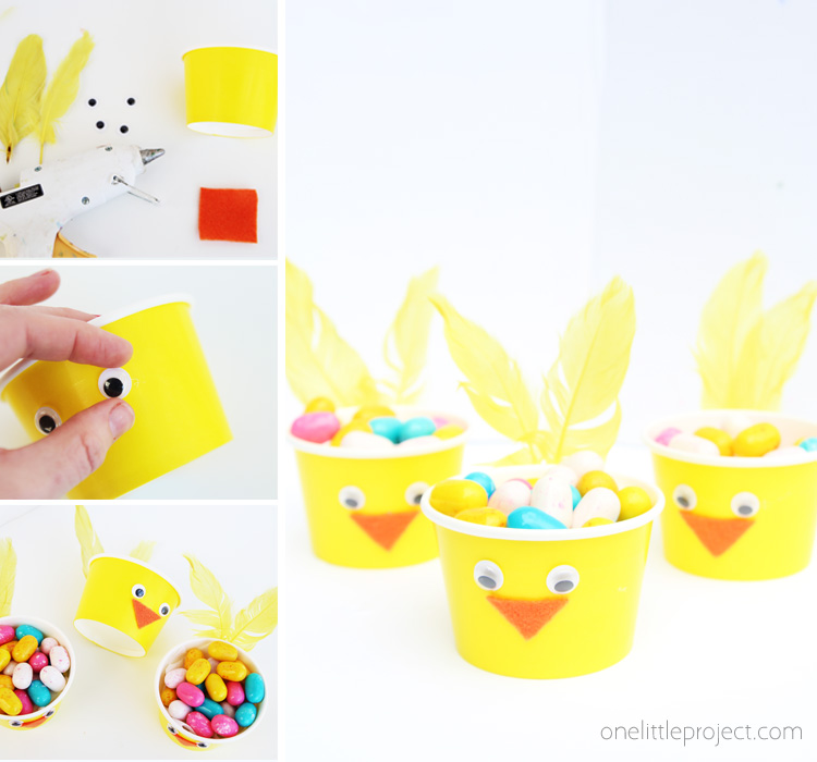 Make these easy Easter chick paper cups as a fun and creative way to hold Easter candy this spring!