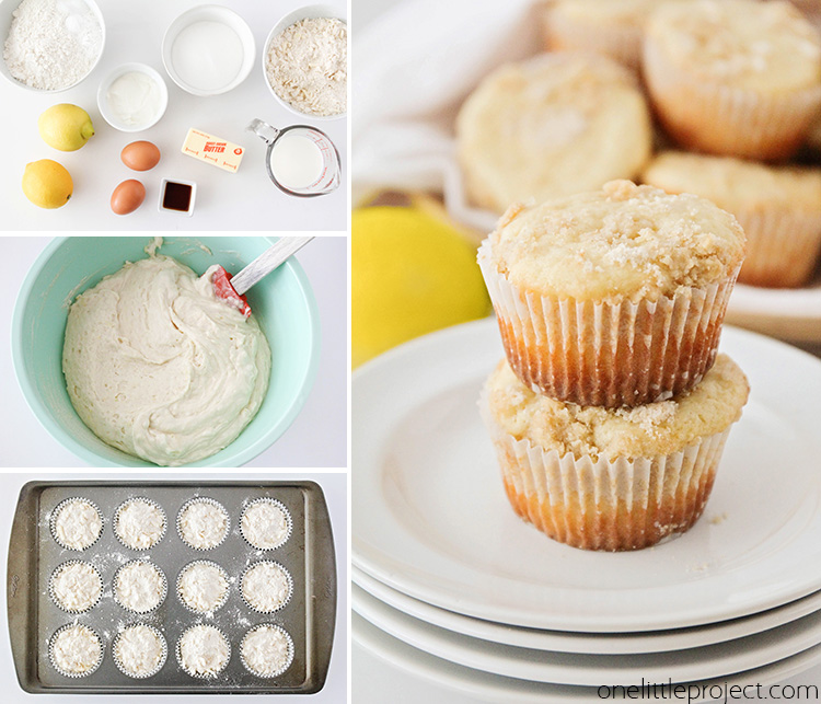 These light and tender lemon crumb muffins are perfectly sweet and have a bright lemon flavor. They start with a luscious lemon muffin base, then are topped by a buttery crumb topping that makes them incredibly delicious!
