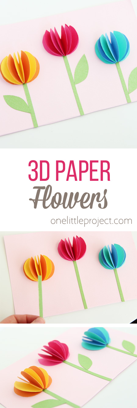 These 3D paper flowers are SO adorable and would be perfect for a handmade Mother's Day card craft!