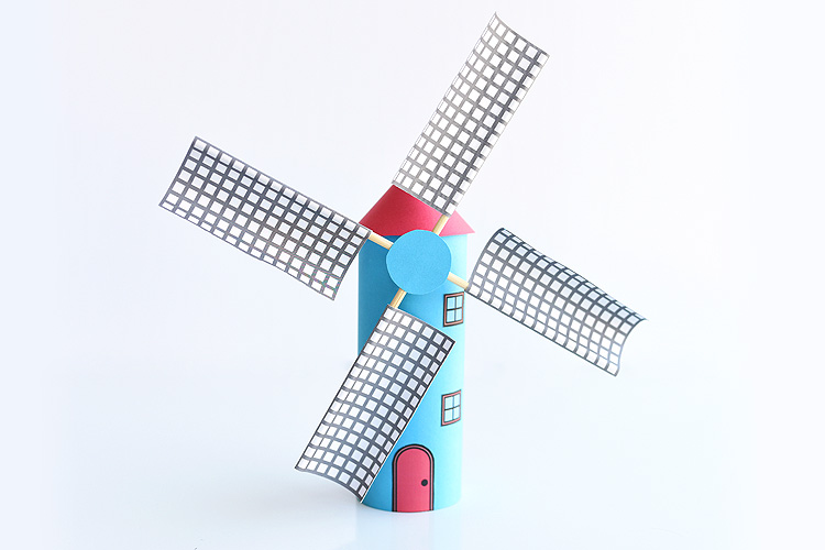 Make a paper roll windmill from a toilet paper roll! This is such a fun kids craft and the blades actually spin! Such a cool windmill craft and a great way to explore DIY projects and crafts with moving parts at school! The free printable template gives you everything you need to make the craft.