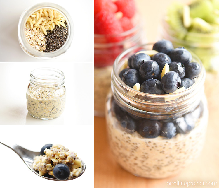 This overnight oats recipe is SO GOOD! It's packed with protein (chia seeds and almonds) so it keeps you full all morning. Make it in a mason jar with fresh or frozen fruit and store it in the fridge for up to 5 days. It's a delicious, healthy and nutritious breakfast idea and a great way to save time in the morning!