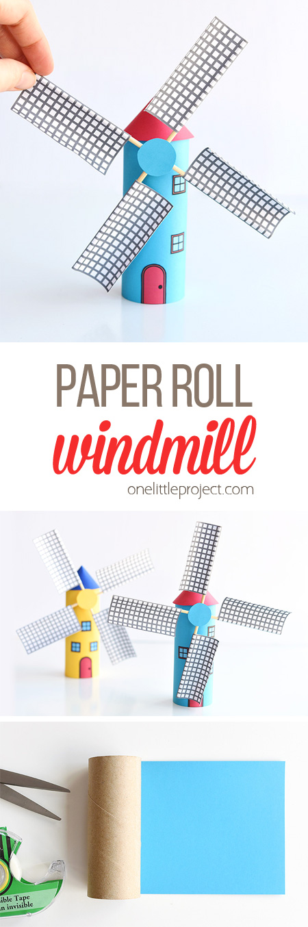 Make a paper roll windmill from a toilet paper roll! This is such a fun kids craft and the blades actually spin! Such a cool windmill craft and a great way to explore DIY projects and crafts with moving parts at school!The free printable template gives you everything you need to make the craft.