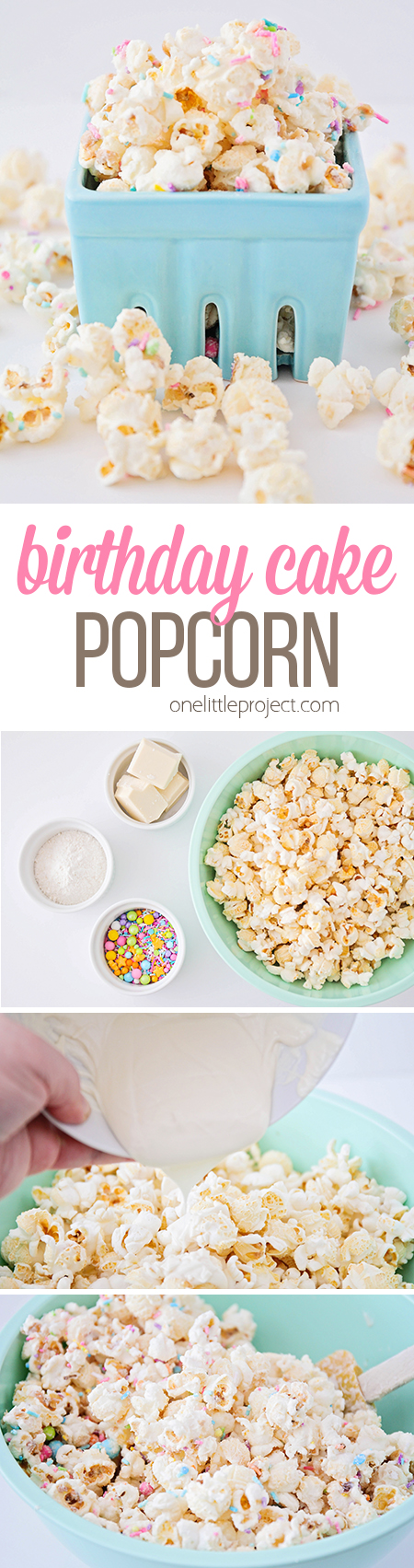 This delicious and fun birthday cake popcorn has only four ingredients, and has a sweet birthday cake flavor. It's the perfect treat for celebrating birthdays, or just for snacking!