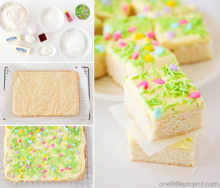 These spring sugar cookie bars are so much quicker and easier than roll-out sugar cookies, and just as delicious! They're the perfect dessert to celebrate spring!
