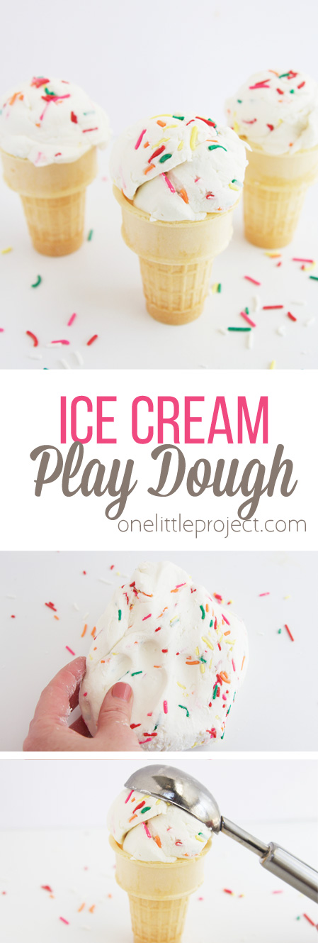 This play dough only requires 3 ingredients and looks JUST like ice cream!