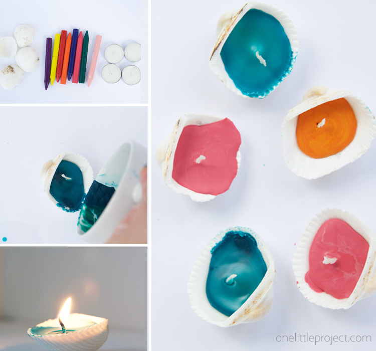 These seashell candles are SO easy to make and perfect for summer! This is the perfect summer craft for an outdoor party!