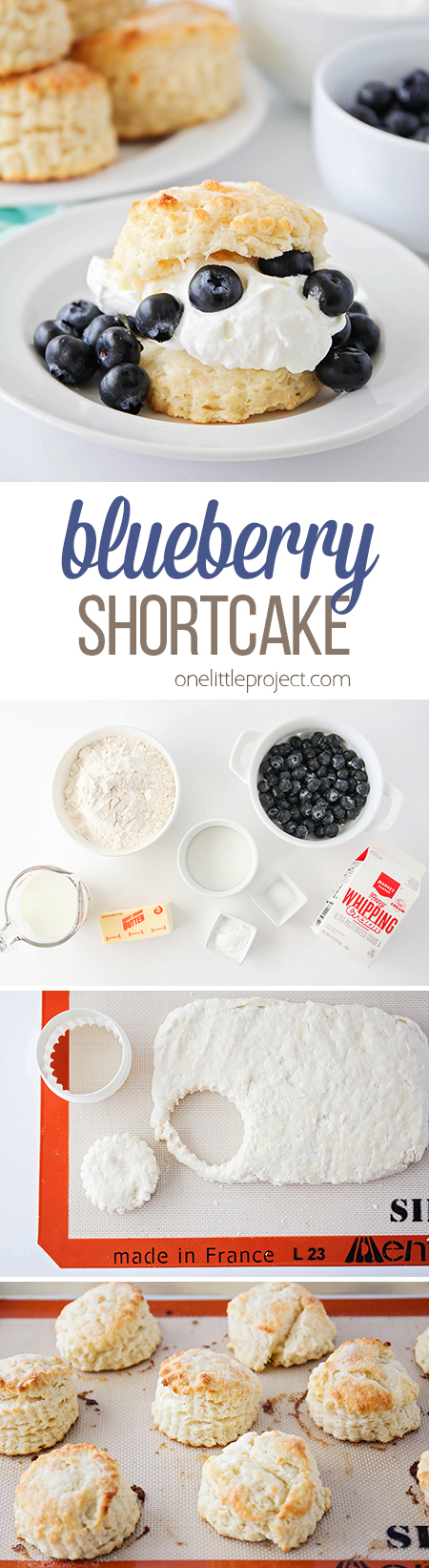 This simple blueberry shortcake is quick and easy to make, and has a delicious and tender biscuit base. Add some freshly whipped cream and fresh blueberries for the perfect summer dessert!