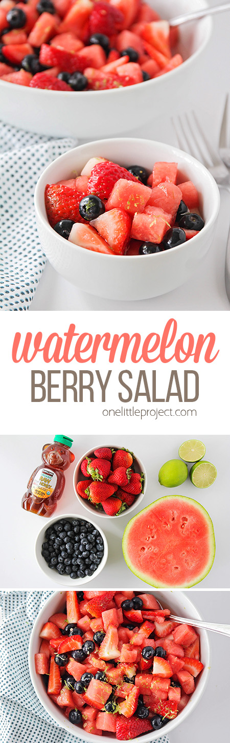 This watermelon berry salad is so sweet and refreshing, and perfect for summer picnics and potlucks! It takes just a few minutes to make, and tastes totally amazing!