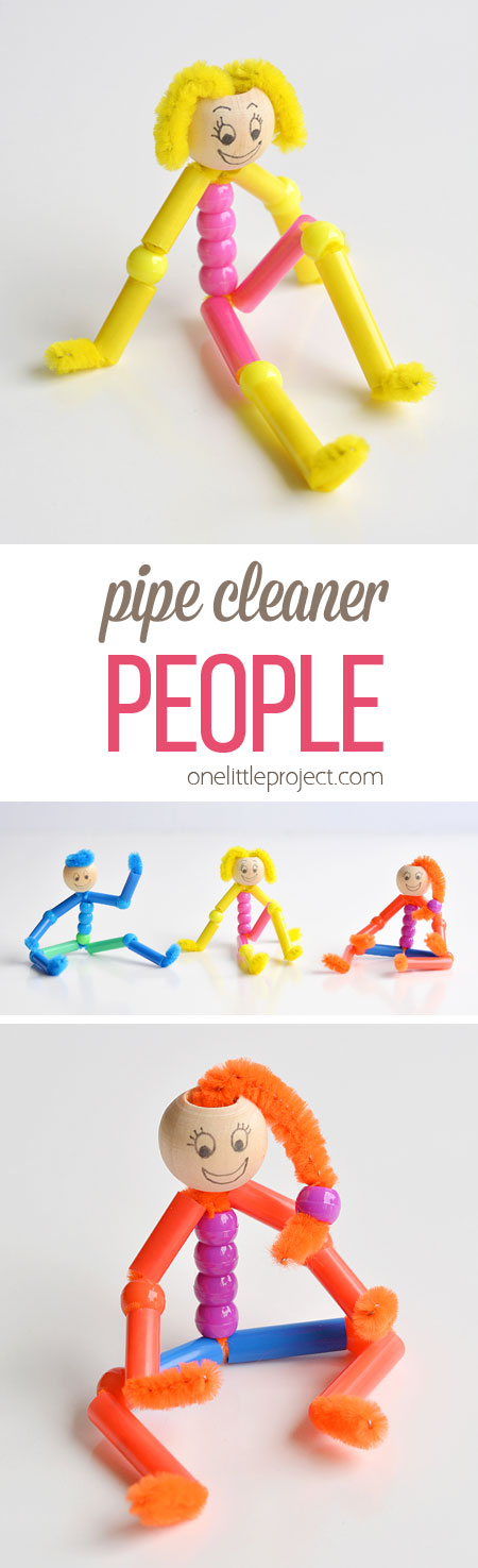 These beaded pipe cleaner people are SO CUTE and they're really simple to make! With pipe cleaners, pony beads and drinking straws, you can make a realistic looking person with arms and legs that bend and flex. This is such a fun kids craft and a great low mess activity to try with the kids!
