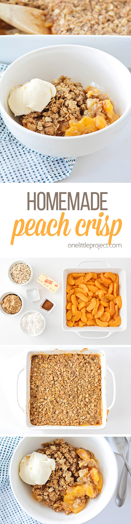This sweet homemade peach crisp is bursting with juicy peaches, and topped with a delicious and crisp oatmeal crust for an unforgettable dessert!