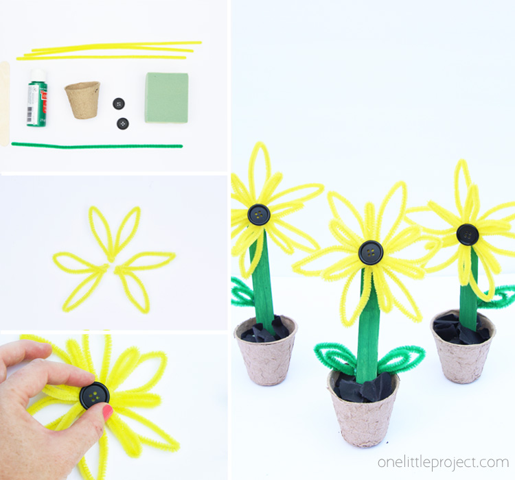 These cheerful pipe cleaner sunflowers are TOO CUTE and a great summer or fall kids craft!