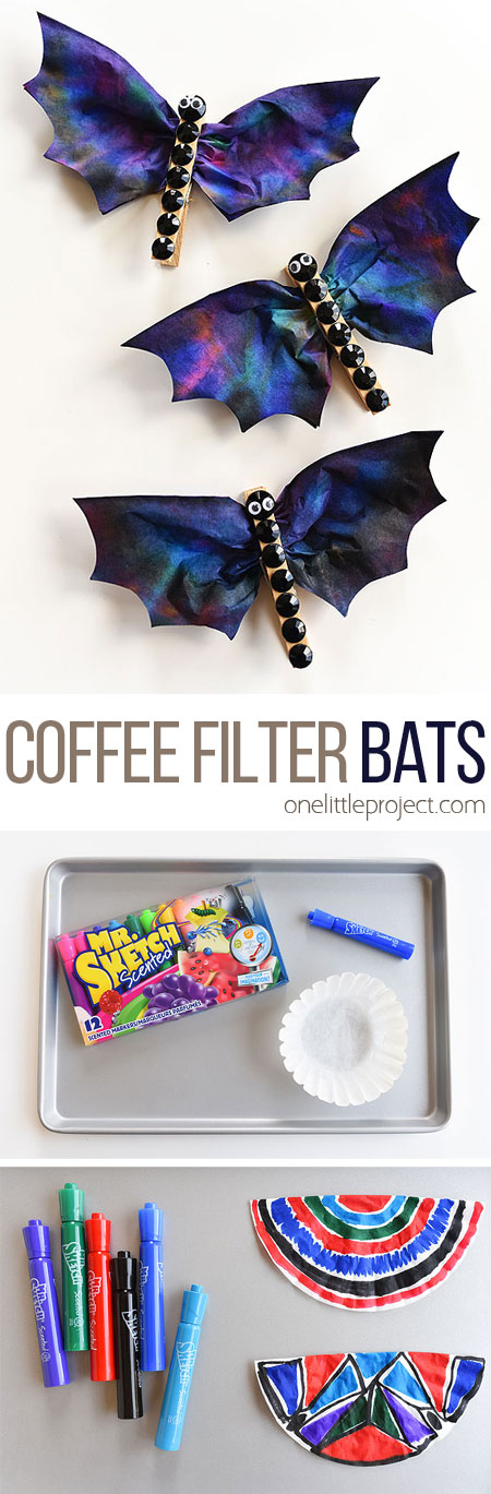 These coffee filter bats are such an easy Halloween craft to make with the kids! They're fun, spooky, simple to make and surprisingly beautiful! They'd make great Halloween decorations! I love the black rhinestones!