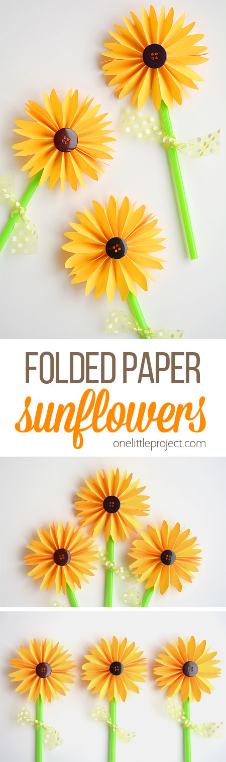 These folded paper sunflowers are SO PRETTY! And they're so easy to make! This is such a great craft project for summer or would even make a great fall craft!I love the button in the middle!
