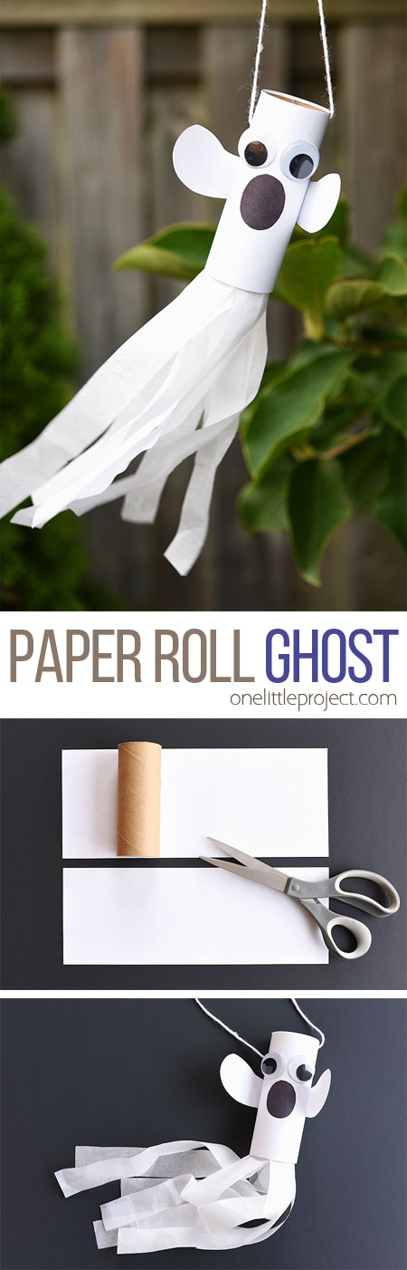 This paper roll ghost is SUCH a fun craft for Halloween! It's a super simple kids craft and makes a great Halloween decoration! The tail even blows in the wind!