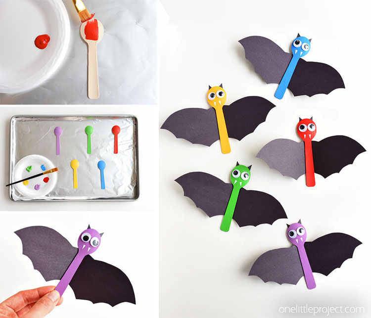 This wooden spoon bat craft for Halloween is so much fun! It's quick and simple, and super fun to make with the kids! You could even hang the bats on the wall as a Halloween decoration!
