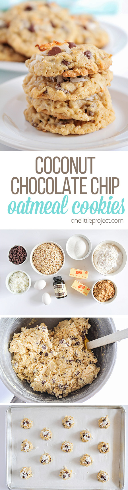 These chewy and sweet coconut chocolate chip oatmeal cookies are irresistibly delicious! They're quick and easy to make, and totally addicting!