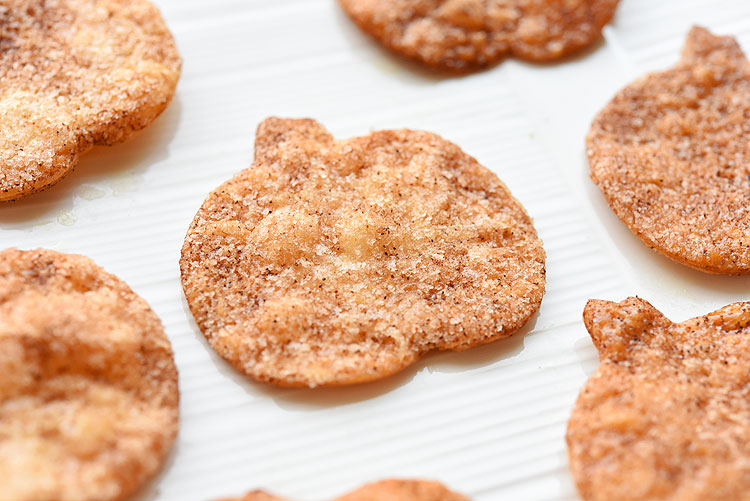 These easy pumpkin shaped cinnamon sugar chips made from flour tortillas taste SO GOOD! They have a perfect, buttery crunch with a delicious cinnamon sugar coating! Such a great fall snack idea that's so addictive!