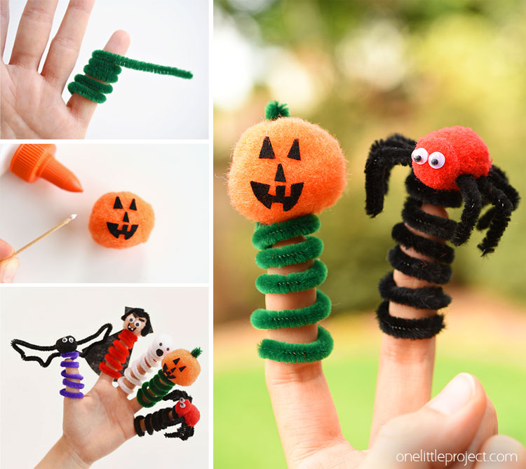 Halloween Finger Puppets From Pipe Cleaners And Pom Poms