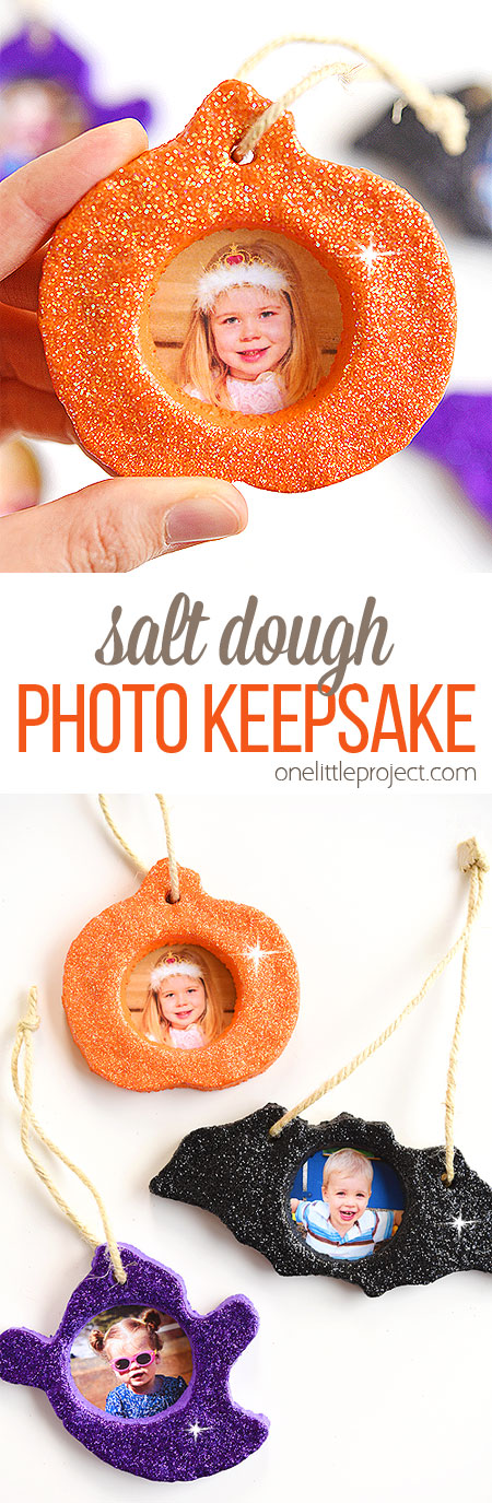 LOVE this glittery Halloween salt dough keepsake! It's so easy to make and SO CUTE! This is a great Halloween craft and a super fun project to make with the kids! You can make pumpkins, bats, ghosts, or any Halloween shapes you like! Such a cute Halloween photo keepsake!