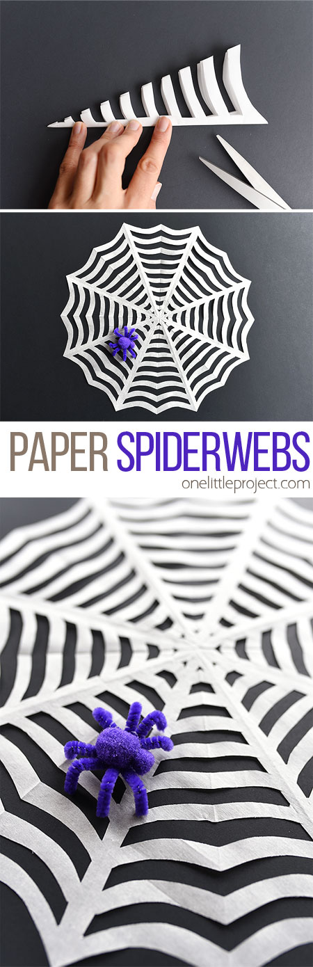 These paper spiderwebs are so easy to make and they look AWESOME! This is such a fun Halloween craft to make with the kids and a great Halloween decoration! I love the pipe cleaner spider!