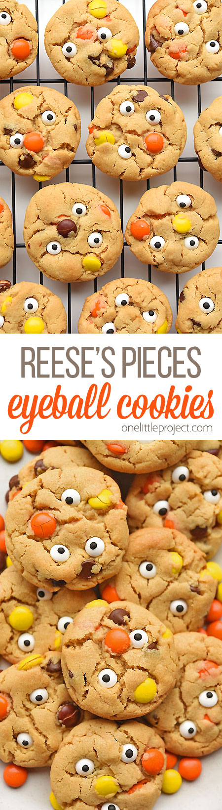 These Reese's Pieces peanut butter eyeball cookies are so much fun! And they taste SO GOOD! The cookies are soft, chewy and delicious! These little monster cookies are such a fun treat to bake for Halloween!